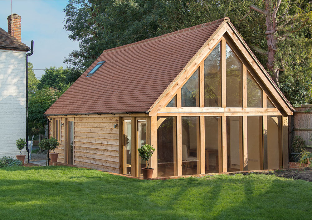 Garden offices english oak frames for Oak garden office