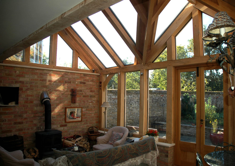 Garden rooms english oak frames for Oak framed garden room